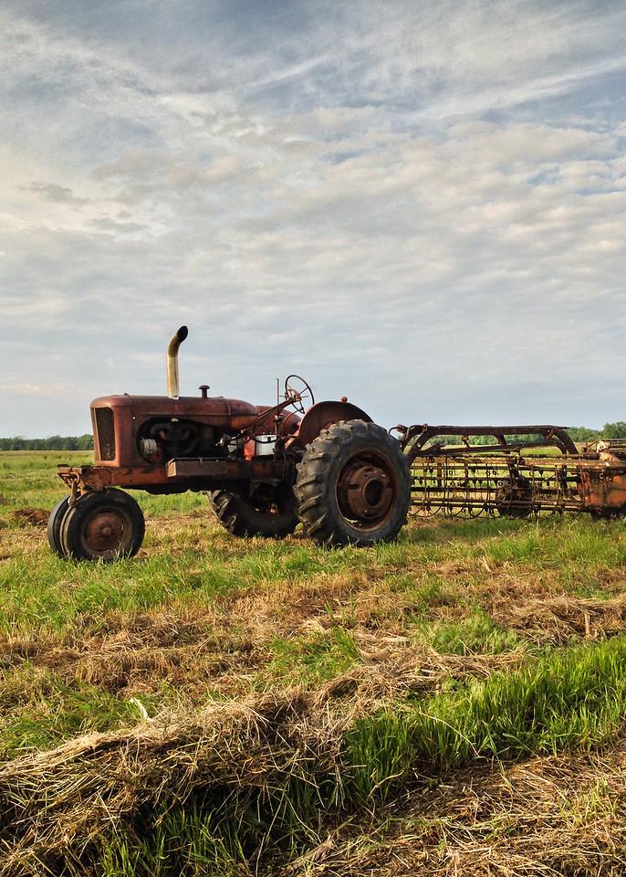 Farmall tractor and hay rake, Jasper County, Indiana.