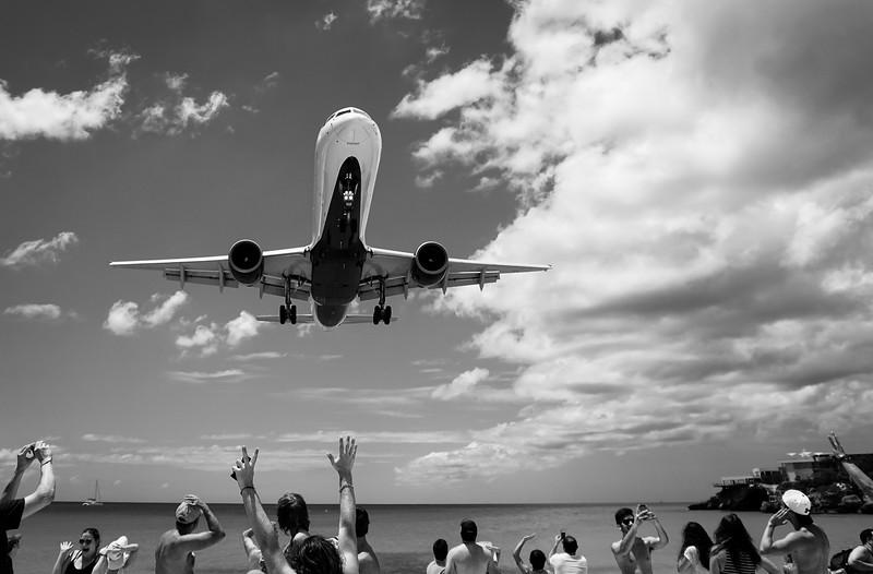 Jet Landing at Maho Beach Sint Maarten.