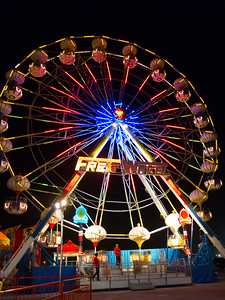 Lighted Ferris Wheel at Night