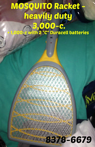 "MOSQUITO Racket - heavily duty  =  3,000-c.  + 1,000-c with 2 ""C"" Duracell batteries"