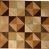 "Chess Board detail, Ky Coffee-Walnut, Hackberry-Maple<br /> Close-up<br /> This chess board is 17"" square.  Each square is just over 2"" and is made using 8 triangles.  Two types of wood are in each square.  Four kinds of wood are on the chess board.  The dark square has ""Ky Coffee"" from Illinois and ""Walnut"" from Missouri; the light square has ""Hackberry"" and ""Maple"" from Missouri.  There are 612 pieces in the over lay.<br />   <br />   This gives a completely different look to a chess board.  When not being used as a chess board, it is made to hang on the wall from one corner.  They make a very beautiful wall hanging."