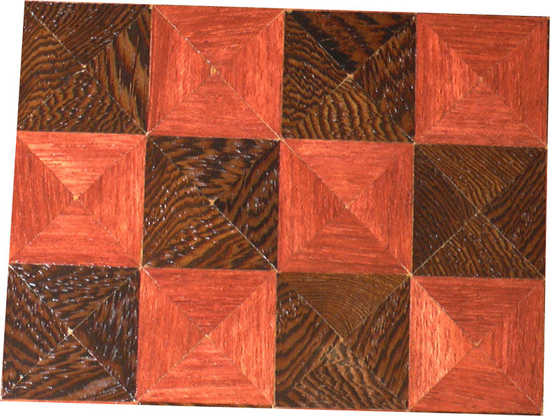 "Cbd Ph-Wenge With Star 2<br /> Close-up<br />    This chess board is 11 3/4"" square. Over all the board is 17 ¼"" square. Each square is just under 1 1/2"" and is made with 4 triangles.  Two types of wood are in the chessboard. Five kinds of wood are on the whole board.  The dark square is ""Wenge"" from West Africa; the light square is ""Purpleheart"" from Central or South America. The design on the corners is a variation of a ""Rolling Star"" quilt pattern. From the star out is ""Walnut"" ""Hackberry"" and ""Elm"" from Missouri. There are 560 pieces in the over lay using five kinds of wood.<br /> <br />   Also on the back, I signed it, listed the wood, and dated it. After the date the words ""Foot Cut"" let you know I made it on my foot powered table saw."