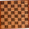 "Cbd 12X18 Wal-Oak-Bub<br />   This chess board is 12"" square, 12 ½"" X 17 ½"" over all.  Each square is 1 ½"" and is made using 4 triangles.  Three kinds of wood are on the chess board.  The dark square is ""Walnut""; the light square is ""Oak"", both from Missouri. ""Bubinga"" from West Africa (African Rosewood) is around the chessboard, . There are 432 pieces in the over lay.<br /> <br />     On the back, I signed it, listed the wood, and dated it.  <br />   <br />   This gives a completely different look to a chess board.  When not being used as a chess board, it is made to hang on the wall.  They make a very beautiful wall hanging."