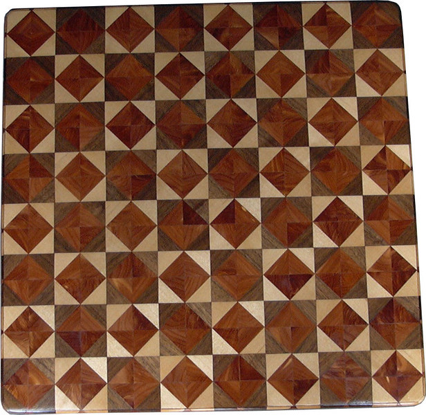 "Chess Board, Birch-Walnut & Cedar<br />   This chess board is 17"" square.  Each square is just over 2"" and is made using 8 triangles.  Two types of wood are in each square.  Three kinds of wood are on the chess board.  The dark square has ""Cedar"" and ""Walnut"" from Missouri; the light square has ""Cedar' and ""Birch"" from Missouri.  There are 612 pieces in the over lay.<br /> <br />    I was playing around when I made this board. I wanted to see what it would look like to have the same kind of wood in the center each square. Yet have a       definite dark and light wood next to each other for the squares. It can mix your opponent. It can mix you up. <br /> <br />    If for nothing else, this is my version of ""modern art""; it makes a nice wall hanging. <br />   <br />    This gives a completely different look to a chess board.  When not being used as a chess board, it is made to hang on the wall from one corner.  They make a very beautiful wall hanging."