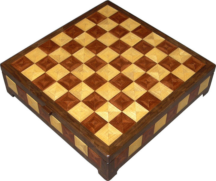 """CBox Hb-Bub-Wal<br />     This Chess Box is about 13"""" x 13"""" and 3 5/8"""" high on the outside. Inside it is 12 1/4"""" x 12 1/4"""" x 2"""".  I made it using 612 pieces of wood cut in triangle shapes from different kinds of wood. Each square is 1 ½"""" and is made by using four triangles. This makes a design within each square and gives it a completely different look. The box is finished in its natural color with 5 or 6 coats of a clear wiping varnish, rubbed in by hand. The pieces are a bit over 3/16"""" thick, glued onto a Baltic Birch base, so they hold up much better than a thin veneer.<br />     As you can see in pictures 3 and 4 wood does reflect light according to the way the grain runs.<br />     The type of wood is listed on the bottom of the box from the center out. On this box the wood is """"Hackberry"""" from Missouri, """"Bubinga"""" from Africa, and """"Walnut"""" from Missouri.<br />    On the bottom I signed it, listed the wood, and dated it.  After the date, the words """"Foot Cut"""" let you know I made it on a foot powered table saw.<br />  <br />     I lined the bottom of the box with black velveteen."""
