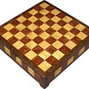 "CBox Hb-Bub-Wal<br />     This Chess Box is about 13"" x 13"" and 3 5/8"" high on the outside. Inside it is 12 1/4"" x 12 1/4"" x 2"".  I made it using 612 pieces of wood cut in triangle shapes from different kinds of wood. Each square is 1 ½"" and is made by using four triangles. This makes a design within each square and gives it a completely different look. The box is finished in its natural color with 5 or 6 coats of a clear wiping varnish, rubbed in by hand. The pieces are a bit over 3/16"" thick, glued onto a Baltic Birch base, so they hold up much better than a thin veneer.<br />     As you can see in pictures 3 and 4 wood does reflect light according to the way the grain runs.<br />     The type of wood is listed on the bottom of the box from the center out. On this box the wood is ""Hackberry"" from Missouri, ""Bubinga"" from Africa, and ""Walnut"" from Missouri.<br />    On the bottom I signed it, listed the wood, and dated it.  After the date, the words ""Foot Cut"" let you know I made it on a foot powered table saw.<br />  <br />     I lined the bottom of the box with black velveteen."