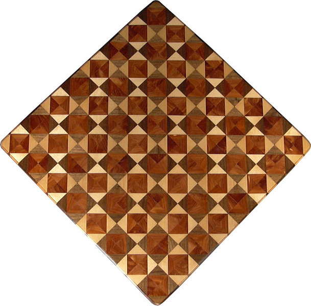 """Chess Board, Birch-Walnut & Cedar<br />   This chess board is 17"""" square.  Each square is just over 2"""" and is made using 8 triangles.  Two types of wood are in each square.  Three kinds of wood are on the chess board.  The dark square has """"Cedar"""" and """"Walnut"""" from Missouri; the light square has """"Cedar' and """"Birch"""" from Missouri.  There are 612 pieces in the over lay.<br /> <br />    I was playing around when I made this board. I wanted to see what it would look like to have the same kind of wood in the center each square. Yet have a       definite dark and light wood next to each other for the squares. It can mix your opponent. It can mix you up. <br /> <br />    If for nothing else, this is my version of """"modern art""""; it makes a nice wall hanging. <br />   <br />    This gives a completely different look to a chess board.  When not being used as a chess board, it is made to hang on the wall from one corner.  They make a very beautiful wall hanging."""