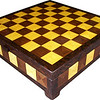 "CBox Hb-Wal-Wenge<br />    This Chess Box is about 13"" x 13"" and 3 5/8"" high on the outside. Inside it is 12 1/4"" x 12 1/4"" x 2"".  I made it using 612 pieces of wood cut in triangle shapes from different kinds of wood. Each square is 1 ½"" and is made by using four triangles. This makes a design within each square and gives it a completely different look. The box is finished in its natural color with 8 or 10 coats of varnish on the top. Then the sides were sanded and 5 or 6 coats of wiping varnish were rubbed in by hand. After the top had hardened for at least a month, I leveled it and buffed to a high shine. This does give the top a more amber look than the sides but gives it a ""glass smooth"" feel on the top. The pieces are a bit over 3/16"" thick, glued onto a Baltic Birch base, so they hold up much better than a thin veneer.<br />    The type of wood is listed on the bottom of the box from the center out. On this box the wood is ""Hackberry"" and ""Walnut"" from Missouri and ""Wenge"" from West Africa.<br />    On the bottom I signed it, listed the wood, and dated it.  After the date, the words ""Foot Cut"" let you know I made it on a foot powered table saw.<br />  <br />    I lined the bottom of the box with black velveteen."