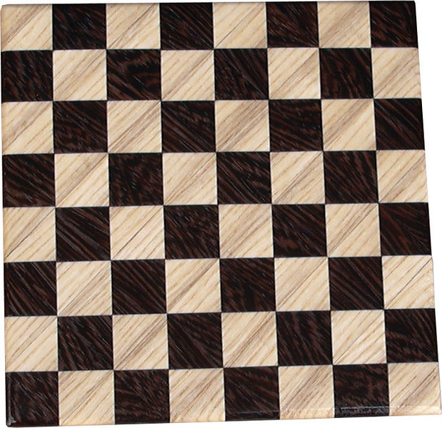 """Cbd Tiny Hb-Wenge<br />    This chess board is 8 1/2"""" square. Each square is just over 1"""" and is made with 2 triangles back to back.  Two types of wood are in the chessboard. The dark square is """"Wenge"""" from West Africa; the light square is """"Hackberry"""" from Missouri. There are 128 pieces in the over lay using two kinds of wood. The edges are rounded with no border.<br /> <br />     Also on the back, I signed it, listed the wood, and dated it. After the date, the words """"Foot Cut"""" lets you know it was made on a foot powered table saw."""