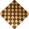 "Chess Board, Walnut - Wenge, Hackberry - Maple<br />  This chess board is 17"" square.  Each square is just over 2"" and is made using 8 triangles.  Two types of wood are in each square.  Four kinds of wood are on the chess board.  The dark square has ""Walnut"" from Missouri, and ""Wenge"" from West Africa.  The light square has ""Hackberry"" and ""Maple"" from Missouri.  There are 612 pieces in the over lay. <br />   <br />     This gives a completely different look to a chess board.  When not being used to play chess, it's made to hang on the wall from one corner.  They make a very beautiful wall hanging."