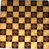"Chess Board, Walnut-Wenge, Hackberry-Maple<br />  This chess board is 17"" square.  Each square is just over 2"" and is made using 8 triangles.  Two types of wood are in each square.  Four kinds of wood are on the chess board.  The dark square has ""Walnut"" from Missouri, and ""Wenge"" from West Africa.  The light square has ""Hackberry"" and ""Maple"" from Missouri.  There are 612 pieces in the over lay. <br />   <br />     This gives a completely different look to a chess board.  When not being used to play chess, it's made to hang on the wall from one corner.  They make a very beautiful wall hanging."