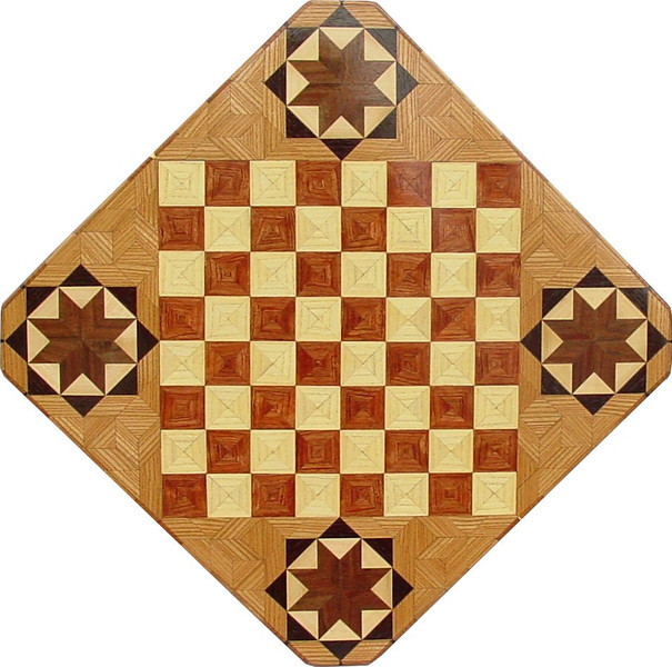 """Cbd Hb - Bubinga with star 1<br />   This chessboard is 11 3/4"""" square. Over all the board is 17 ¼"""" square. Each square is just under 1 1/2"""" and is made with 4 triangles.  Two types of wood are in the chessboard. six kinds of wood are on the whole board.  The dark square is """"Bubinga"""" from West Africa; the light square is """"Hackberry"""" from Missouri. """"Elm"""" from Missouri is around the chessboard itself. The design in each corner is a variation of a """"Rolling Star"""" quilt pattern. The wood on it, from the center of the star is """"Walnut"""" and """"Maple"""" from Missouri, """"Wenge"""" from West Africa and then the """"Elm"""". There are 560 pieces in the over lay, using 6 kinds of wood.<br /> <br /> Also on the back, I signed it, listed the wood, and dated it. After the date the words """"Foot Cut"""" let you know I made it on my foot powered table saw. <br />   <br />    This gives a completely different look to a chessboard.  When not being used as a chessboard, it is made to hang on the wall from one corner.  They make a very beautiful wall hanging."""