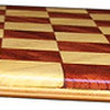 "Cbd Tiny Hb-Bub 4<br />    This chess board is 8 1/4"" square. Each square is just over 1"" and is made with 2 triangles back to back.  Two types of wood are in the chessboard. The dark square is ""Bubinga"" from Africa, some call it African Rosewood. The light square is ""Hackberry"" from Missouri.  There are 128 pieces in the over lay using two kinds of wood. The edges are rounded with no border.<br /> <br /> Also on the back, I signed it, listed the wood, and dated it. After the date the words ""Foot Cut"" lets you know it was made on the foot powered table saw."