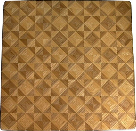 """Chess Board, All Ash<br /> This chess board is 17"""" square.  Each square is just over 2"""" and is made using 8 triangles.  One type of wood is in each square.  One kind of wood is on the chess board.  The dark square has """"Ash sapwood"""" and """"Ash Heartwood"""" from Missouri; the light square has """"Ash heartwood"""" and """"Ash sapwood"""" from Missouri.  There are 612 pieces in the over lay.<br /> <br />    I was playing around when I made this board. I wanted to see what it would look like to reverse the kinds of wood in each square and also if I could make it all out of the same wood. It can mix up your opponent. It can mix you up. <br /> <br />    This is my version of """"modern art""""; it makes a nice wall hanging.  <br />   <br />    This gives a completely different look to a chess board.  When not being used as a chess board, it is made to hang on the wall from one corner.  They make a very beautiful wall hanging."""