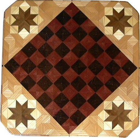 """Cbd Ph-Wenge With Star 3<br />    This chess board is 11 3/4"""" square. Over all the board is 17 ¼"""" square. Each square is just under 1 1/2"""" and is made with 4 triangles.  Two types of wood are in the chessboard. Five kinds of wood are on the whole board.  The dark square is """"Wenge"""" from West Africa; the light square is """"Purpleheart"""" from Central or South America. The design on the corners is a variation of a """"Rolling Star"""" quilt pattern. From the star out is """"Walnut"""" """"Hackberry"""" and """"Elm"""" from Missouri. There are 560 pieces in the over lay using five kinds of wood.<br /> <br />   Also on the back, I signed it, listed the wood, and dated it. After the date the words """"Foot Cut"""" let you know I made it on my foot powered table saw."""