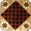 "Cbd Ph-Wenge With Star 3<br />    This chess board is 11 3/4"" square. Over all the board is 17 ¼"" square. Each square is just under 1 1/2"" and is made with 4 triangles.  Two types of wood are in the chessboard. Five kinds of wood are on the whole board.  The dark square is ""Wenge"" from West Africa; the light square is ""Purpleheart"" from Central or South America. The design on the corners is a variation of a ""Rolling Star"" quilt pattern. From the star out is ""Walnut"" ""Hackberry"" and ""Elm"" from Missouri. There are 560 pieces in the over lay using five kinds of wood.<br /> <br />   Also on the back, I signed it, listed the wood, and dated it. After the date the words ""Foot Cut"" let you know I made it on my foot powered table saw."