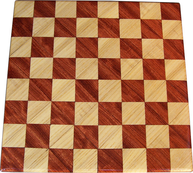 """Cbd Tiny Hb-Bub 1<br />    This chess board is 8 1/4"""" square. Each square is just over 1"""" and is made with 2 triangles back to back.  Two types of wood are in the chessboard. The dark square is """"Bubinga"""" from Africa, some call it African Rosewood. The light square is """"Hackberry"""" from Missouri.  There are 128 pieces in the over lay using two kinds of wood. The edges are rounded with no border.<br /> <br /> Also on the back, I signed it, listed the wood, and dated it. After the date the words """"Foot Cut"""" lets you know it was made on the foot powered table saw."""