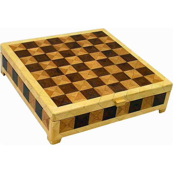 "CBox Phil Mah-Wenge-Hb<br /> This Chess Box is about 13"" x 13"" and 3 5/8"" high on the outside. Inside it is 12 1/4"" x 12 1/4"" x 2"".  I made it using 612 pieces of wood cut in triangle shapes from different kinds of wood. Each square is 1 ½"" and is made by using four triangles. This makes a design within each square and gives it a completely different look. The box is finished in its natural color with 5 or 6 coats of a clear wiping varnish, rubbed in by hand. The pieces are a bit over 3/16"" thick, glued onto a Baltic Birch base, so they hold up much better than a thin veneer.<br />    The type of wood is listed on the bottom of the box from the center out. On this box the wood is ""Wenge"" from West Africa, ""Philippine Mahogany"" from the Philippines"", and ""Hackberry"" from Missouri. <br />    On the bottom I signed it, listed the wood, and dated it.  After the date, the words ""Foot Cut"" let you know I made it on a foot powered table saw.<br /> <br />    I lined the bottom of the box with black velveteen."