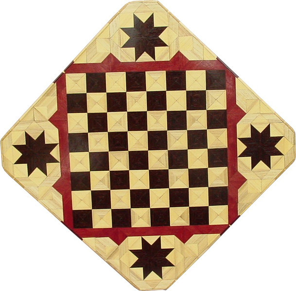 """Cbd Wenge-Hb-Ph with Star 1<br />    This chess board is 11 3/4"""" square. Over all the board is 17 ¼"""" square. Each square is just under 1 1/2"""" and is made with 4 triangles.  Two types of wood are in the chessboard. Three kinds of wood are on the whole board.  The dark square is """"Wenge"""" from West Africa; the light square is """"Hackberry"""" from Missouri. """"Purpleheart"""" from Central America is around the chessboard itself. The design on the corners is a variation of a """"Rolling Star"""" quilt pattern. I use the same wood as is in the chessboard. There are 560 pieces in the over lay using three kinds of wood.<br /> <br />     Also on the back, I signed it, listed the wood, and dated it. After the date the words """"Foot Cut"""" let you know I made it on my foot powered table saw. <br />   <br />    This gives a completely different look to a chess board.  When not being used as a chess board, it is made to hang on the wall from one corner.  They make a very beautiful wall hanging."""