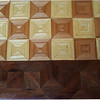 "Cbd 12X18 Elm-Ash-Wal <br /> Close-up<br /> This chess board is 12"" square, 12 ½"" X 17 ½"" over all. Each square is 1 ½"" and is made using 4 triangles. Three kinds of wood are on the chess board. The dark square is ""Elm""; the light square is ""Ash"", ""Walnut"" is around the chessboard, all from Missouri. There are 418 pieces in the over lay.<br />  <br /> On the back, I signed it, listed the wood, and dated it.<br />  <br /> I tried to match the grain on most of the squares which gives it a unique look. <br /> <br /> This gives a completely different look to a chess board. When not being used as a chess board, it is made to hang on the wall. They make a very beautiful wall hanging."