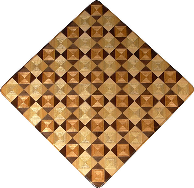 """Chess Board, Ky Coffee-Walnut, Hackberry-Maple<br /> This chess board is 17"""" square.  Each square is just over 2"""" and is made using 8 triangles.  Two types of wood are in each square.  Four kinds of wood are on the chess board.  The dark square has """"Ky Coffee"""" from Illinois and """"Walnut"""" from Missouri; the light square has """"Hackberry"""" and """"Maple"""" from Missouri.  There are 612 pieces in the over lay.<br />   <br />   This gives a completely different look to a chess board.  When not being used as a chess board, it is made to hang on the wall from one corner.  They make a very beautiful wall hanging."""