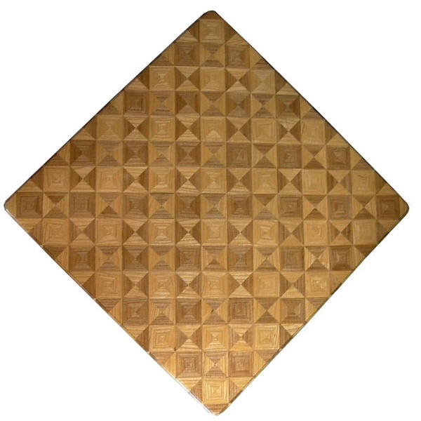 """Can You See the Chess Board?<br /> This chess board is 17"""" square.  Each square is just over 2"""" and is made using 8 triangles.  One type of wood is in each square.  One kind of wood is on the chess board.  The dark square has """"Ash sapwood"""" and """"Ash Heartwood"""" from Missouri; the light square has """"Ash heartwood"""" and """"Ash sapwood"""" from Missouri.  There are 612 pieces in the over lay.<br /> <br />    I was playing around when I made this board. I wanted to see what it would look like to reverse the kinds of wood in each square and also if I could make it all out of the same wood. It can mix up your opponent. It can mix you up. <br /> <br />    This is my version of """"modern art""""; it makes a nice wall hanging.  <br />   <br />    This gives a completely different look to a chess board.  When not being used as a chess board, it is made to hang on the wall from one corner.  They make a very beautiful wall hanging."""