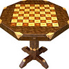 "Table CB Med Wal <br />   I call this my ""Medium size Walnut"" chess table. This table stands 30"" tall and is 32"" wide. Each square is 2 ½"", the whole board is just over 20"". There are over 3200 pieces on the entire table. The pieces are used over the edge and onto the pedestal and feet of the table. Each square is made using 4 diamonds and 6 triangles. It gives a chess or checker board a completely different look. It has two drawers, one on each side. The drawers have magnetic catches on the back of them, so they don't slide out on their own. I use wood dowels to help hold the drawers together. The table is finished in its natural color with 6 or 8 coats of varnish. After the varnish hardens for at least a month, I level it and buff it to a high shine. The pieces are a bit over 3/16"" thick, glued onto a Baltic Birch base, so they hold up much better than a thin veneer.<br />    The type of wood is listed on the bottom of the table. The dark square has ""Lacewood"" from Australia in the middle and ""Bubinga"" from Africa on the outside. The light square has ""Oak"" in the middle and ""Hackberry"" on the outside both from Missouri. And then ""Hackberry"" and ""Walnut"" from Missouri are used on the rest of the table.<br />    The pieces in each square are placed so that two diamonds are on opposite corners. Then when you look at those corners where 4 squares meet a star is formed at that corner all over the table. You can see it easiest on the Chess Board, itself, here on the ""Close-up"" picture.<br />     On the bottom I signed it, listed the wood, dated it and put the number of the table. As with everything I make I can find flaws in each item, be it box or table. It's not perfect but you'll look a long time to find a prettier table. <br />  <br />    I lined the bottom of the drawers with black velveteen."