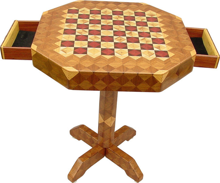 """Table CB Small Drawers open <br />  This table stands 22"""" tall and is 18 ¼"""" wide. Each square is 1 ½"""", the whole board is just under 12"""". There are over 1700 pieces on the entire table. The pieces are used over the edge and onto the pedestal and feet of the table. There are 8 of my half size triangles on each square. It gives a chess or checker board a completely different look. It has two drawers, one on each side. The drawers have magnetic catches on the back of them, so they don't slide out on their own. I use wood dowels to help hold the drawers together. The table is finished in its natural color with 5 or 6 coats of a clear wiping varnish, rubbed in by hand. The pieces are a bit over 3/16"""" thick, glued onto a Baltic Birch base, so they hold up much better than a thin veneer.<br />    The type of wood is listed on the bottom of the table. The dark square has """"Purpleheart"""" from Central or South America, and """"Wenge"""" from West Africa. The light square has """"Red Gum"""" from South Eastern U.S. and """"Hackberry"""" from Missouri. And then """"Oak"""" and """"Walnut"""" from Missouri are used on the rest of the table.<br />    I made this table in 1998 and it is small table number 12. On the bottom I signed it, listed the wood, dated it and put the number of the table.  After the number, the words """"Foot Cut"""" let you know I made it on a foot powered table saw.<br />  <br />    I lined the bottom of the drawers with black velveteen."""