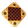 "Cbd Ph-Wenge With Star 1<br />    This chess board is 11 3/4"" square. Over all the board is 17 ¼"" square. Each square is just under 1 1/2"" and is made with 4 triangles.  Two types of wood are in the chessboard. Five kinds of wood are on the whole board.  The dark square is ""Wenge"" from West Africa; the light square is ""Purpleheart"" from Central or South America. The design on the corners is a variation of a ""Rolling Star"" quilt pattern. From the star out is ""Walnut"" ""Hackberry"" and ""Elm"" from Missouri. There are 560 pieces in the over lay using five kinds of wood.<br /> <br />   Also on the back, I signed it, listed the wood, and dated it. After the date the words ""Foot Cut"" let you know I made it on my foot powered table saw."