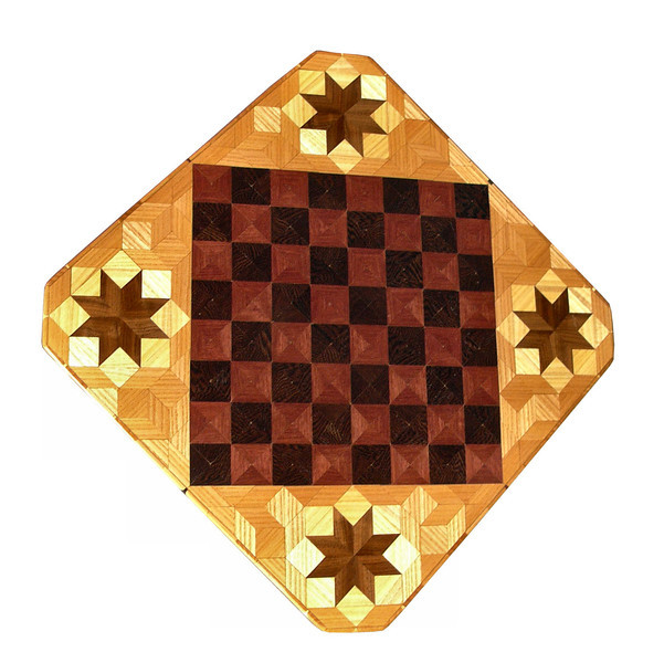 """Cbd Ph-Wenge With Star 1<br />    This chess board is 11 3/4"""" square. Over all the board is 17 ¼"""" square. Each square is just under 1 1/2"""" and is made with 4 triangles.  Two types of wood are in the chessboard. Five kinds of wood are on the whole board.  The dark square is """"Wenge"""" from West Africa; the light square is """"Purpleheart"""" from Central or South America. The design on the corners is a variation of a """"Rolling Star"""" quilt pattern. From the star out is """"Walnut"""" """"Hackberry"""" and """"Elm"""" from Missouri. There are 560 pieces in the over lay using five kinds of wood.<br /> <br />   Also on the back, I signed it, listed the wood, and dated it. After the date the words """"Foot Cut"""" let you know I made it on my foot powered table saw."""