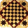 "Cbd Wenge-Hb-Ph with Star 2<br /> This chess board is 11 3/4"" square. Over all the board is 17 ¼"" square. Each square is just under 1 1/2"" and is made with 4 triangles. Two types of wood are in the chessboard. Three kinds of wood are on the whole board. The dark square is ""Wenge"" from West Africa; the light square is ""Hackberry"" from Missouri. ""Purpleheart"" from Central America is around the chessboard itself. The design on the corners is a variation of a ""Rolling Star"" quilt pattern. I use the same wood as is in the chessboard. There are 560 pieces in the over lay using three kinds of wood.<br />  <br /> Also on the back, I signed it, listed the wood, and dated it. After the date the words ""Foot Cut"" let you know I made it on my foot powered table saw. <br /> <br /> This gives a completely different look to a chess board. When not being used as a chess board, it is made to hang on the wall from one corner. They make a very beautiful wall hanging"