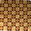 "Chess Board, Ky Coffee-Walnut, Hackberry-Maple<br /> This chess board is 17"" square.  Each square is just over 2"" and is made using 8 triangles.  Two types of wood are in each square.  Four kinds of wood are on the chess board.  The dark square has ""Ky Coffee"" from Illinois and ""Walnut"" from Missouri; the light square has ""Hackberry"" and ""Maple"" from Missouri.  There are 612 pieces in the over lay.<br />   <br />   This gives a completely different look to a chess board.  When not being used as a chess board, it is made to hang on the wall from one corner.  They make a very beautiful wall hanging."