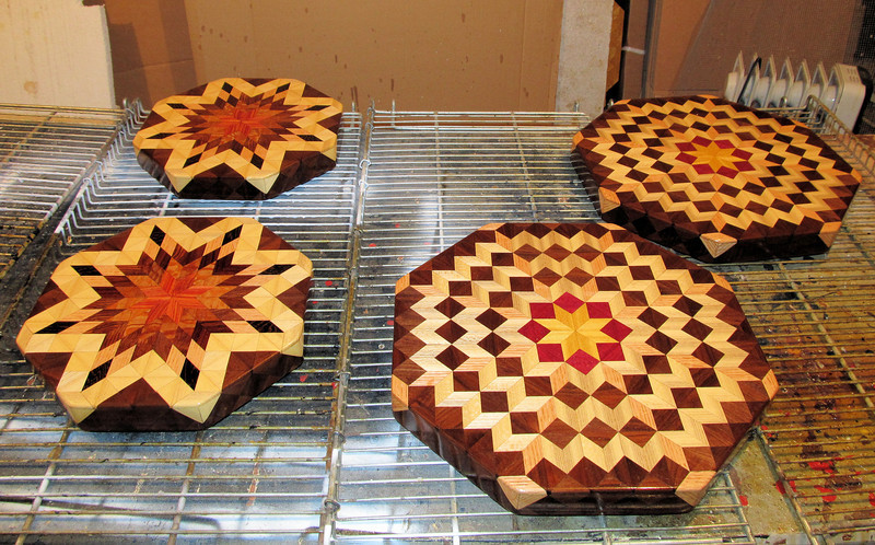 Lazy Susan's Back in Stock<br /> I have been out of the Small with Hackberry lazy susan and the Medium Carpenters Wheel lazy susan for quite some time now. I finally took the time to get a couple of each made in the last few weeks. I hope to get some more made but they will have to wait until I can get the hay in.