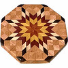"LS Sm Brigh Oak<br />    This is my ""Small Bright Oak"" Lazy Susan.  The measurements are 12"" across (13"" tip to tip) and 2"" high.  This lazy susan has 6 kinds of wood, all the natural colors.  There are 304 pieces in the overlay, 80 diamonds and 224 triangles.  The type of wood used is listed on the bottom from the center out.  On this lazy susan, starting from the center is (1) ""Tulipwood"" and (2) ""Satinwood"" from Brazil, (3) ""Purpleheart"" from Central or South America, (4) ""Hackberry"" from Missouri, (5) ""Wenge"" from West Africa, and (6) ""Oak"" from Missouri.<br /> <br />    The pattern is based on the ""Lone Star"" quilt pattern.  The design extends over the edge to within ¼"" of the table top it sits on.  The stationary base is hidden on the inside, behind the edge."
