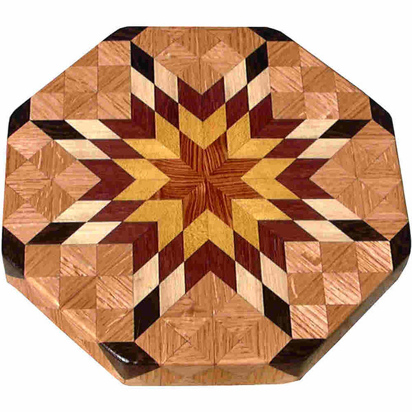 """LS Sm Brigh Oak<br />    This is my """"Small Bright Oak"""" Lazy Susan.  The measurements are 12"""" across (13"""" tip to tip) and 2"""" high.  This lazy susan has 6 kinds of wood, all the natural colors.  There are 304 pieces in the overlay, 80 diamonds and 224 triangles.  The type of wood used is listed on the bottom from the center out.  On this lazy susan, starting from the center is (1) """"Tulipwood"""" and (2) """"Satinwood"""" from Brazil, (3) """"Purpleheart"""" from Central or South America, (4) """"Hackberry"""" from Missouri, (5) """"Wenge"""" from West Africa, and (6) """"Oak"""" from Missouri.<br /> <br />    The pattern is based on the """"Lone Star"""" quilt pattern.  The design extends over the edge to within ¼"""" of the table top it sits on.  The stationary base is hidden on the inside, behind the edge."""