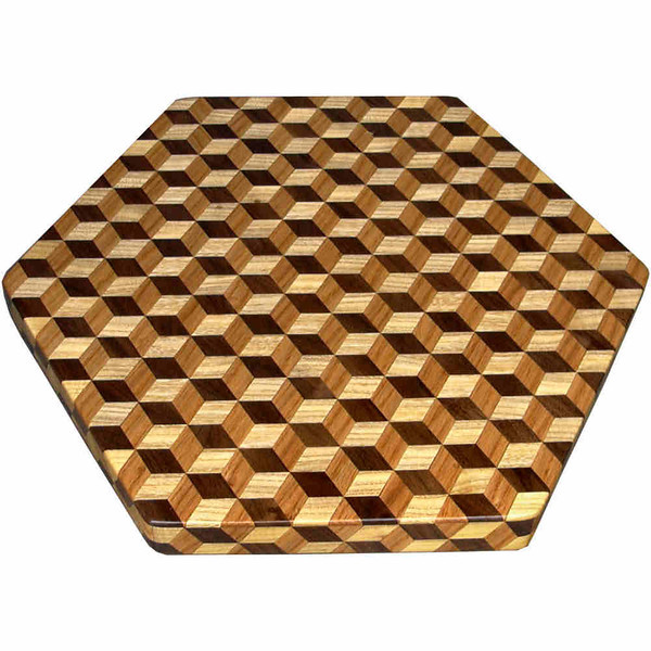 "LS Lg TB Brown Tone 1<br />   The Large Brown Tone ""Tumbling Block"" Lazy Susan is based on the ""Tumbling Block"" quilt pattern.  It measures 16"" across (18 ½"" tip to tip) and 2"" high.  There are 528 pieces on the overlay.  The pieces are cut and glued in place, one piece at a time.  The pattern covers the top and extends over the edge uninterrupted, to within ¼"" of the table top it sits on.  The stationary base is hidden on the inside, behind the edge.  <br /> <br />   The pattern has the illusion of a lot of blocks but there are as many stars as there are blocks. The design forces you to see the blocks.  On each diamond, if you go to the side you are in the middle of a block.  At each point you are in the middle of a star that has 6 points.  <br /> <br />   This lazy susan is made from ""Hackberry"", ""Oak"" and ""Walnut"" from Missouri."