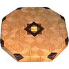 "LS Sm ASC Oak 1<br />    This is my ""Small Aunt Sukeys Choice Oak"" Lazy Susan. The pattern on this lazy susan is the ""Aunt Sukeys Choice"" quilt pattern. It is the same pattern that is on the ""Oak ASC Square Box"". As you can see on the square box, 2 diamonds are on each corner. They form a star when 4 of the patterns come together. In the center I start with the pattern half sized (twice as many pieces as would normally be in that area, 48 pieces where I would normally have 24 pieces). Then I continue with the regular sized pieces on out to the edge.<br /> <br />      The measurements are 11 ½"" across, 12"" diagonal, 12 ½"""" tip to tip, and 2"" high. There are 300 pieces in the overlay, 120 diamonds and 180 triangles. 48 of those pieces are half size pieces <br />      <br />       This lazy susan has 5 kinds of wood, all the natural colors. The type of wood is listed on the bottom from the center out. On this lazy susan the wood is ""Satinwood"" from South America, ""Walnut"" from Missouri, ""Wenge"" from West Africa, ""Purpleheart"" from Central or South America, and ""Oak"" from Missouri.<br />       The pattern is based on the ""Aunt Sukeys Choice"" quilt pattern. The design extends over the edge to within ¼"" of the table top it sits on. The stationary base is hidden on the inside, behind the edge."