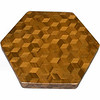"LS Sm TB Wal 1<br />  The Small Walnut ""Tumbling Block"" Lazy Susan is based on the ""Tumbling Block"" quilt pattern.  It measures 12"" across (13 ½"" tip to tip) and is 2"" high.  There are 312 pieces on the overlay.  The pieces are cut and glued in place, one piece at a time.  The pattern covers the top and extends over the edge uninterrupted, to within ¼"" of the table top it sits on.  The stationary base is hidden on the inside, behind the edge. <br /> <br />    This Lazy Susan is finished in its natural color with 8 or 10 coats of varnish on the top. Then the sides were sanded and 5 or 6 coats of wiping varnish were rubbed in by hand. After the top had hardened for at least a month, I level it and buff it to a high shine. This does give the top a more amber look than the sides but gives the top a ""glass smooth"" feel.  <br /> <br />   The pattern has the illusion of a lot of blocks but there are as many stars as there are blocks. The design forces you to see the blocks.  On each diamond, if you go to the side you are in the middle of a block.  At each point you are in the middle of a star that has 6 points.  <br /> <br />   This lazy susan is made from ""Walnut"" from Missouri. The grain going in different directions, all uniform, makes the design in this lazy susan."