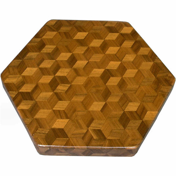 """LS Sm TB Wal 1<br />  The Small Walnut """"Tumbling Block"""" Lazy Susan is based on the """"Tumbling Block"""" quilt pattern.  It measures 12"""" across (13 ½"""" tip to tip) and is 2"""" high.  There are 312 pieces on the overlay.  The pieces are cut and glued in place, one piece at a time.  The pattern covers the top and extends over the edge uninterrupted, to within ¼"""" of the table top it sits on.  The stationary base is hidden on the inside, behind the edge. <br /> <br />    This Lazy Susan is finished in its natural color with 8 or 10 coats of varnish on the top. Then the sides were sanded and 5 or 6 coats of wiping varnish were rubbed in by hand. After the top had hardened for at least a month, I level it and buff it to a high shine. This does give the top a more amber look than the sides but gives the top a """"glass smooth"""" feel.  <br /> <br />   The pattern has the illusion of a lot of blocks but there are as many stars as there are blocks. The design forces you to see the blocks.  On each diamond, if you go to the side you are in the middle of a block.  At each point you are in the middle of a star that has 6 points.  <br /> <br />   This lazy susan is made from """"Walnut"""" from Missouri. The grain going in different directions, all uniform, makes the design in this lazy susan."""