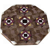 "LS Med ASC Black Center 1<br />      This is my ""Medium Aunt Sukeys Choice Black Center"" Lazy Susan. The pattern on this lazy susan is the ""Aunt Sukeys Choice"" quilt pattern. It is the same pattern that is on the ""Black Center Square Box"". As you can see on the square box, 2 diamonds are on each corner. They form a star when 4 of the patterns come together. Out from the center I have 4 half size patterns that are the same size that is on my ""Black Center Tiny Square Box"", twice as many pieces as would normally be in that area, 48 pieces where I would normally have 24 pieces<br /> <br />      The measurements are 15"" across, 15 ½"" diagonal, 16 ½"""" tip to tip, and 2"" high. There are 532 pieces in the overlay, 192 diamonds and 340 triangles. 192 of those pieces are half size pieces <br />      <br />       This lazy susan has 5 kinds of wood, all the natural colors. The type of wood is listed on the bottom from the center out. On this lazy susan the wood is ""Wenge"" from West Africa, ""Hackberry"" from Missouri, ""Purpleheart"" from Central or South America, ""Satinwood"" from South America, and ""Walnut"" from Missouri.<br />                   <br /> <br />      The pattern is based on the ""Aunt Sukeys Choice"" quilt pattern. The design extends over the edge to within ¼"" of the table top it sits on. The stationary base is hidden on the inside, behind the edge."