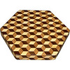"LS Sm TB Brown Tone 1<br />  The Small Brown Tone ""Tumbling Block"" Lazy Susan is based on the ""Tumbling Block"" quilt pattern.  It measures 12"" across (13 ½"" tip to tip) and 2"" high.  There are 312 pieces on the overlay.  The pieces are cut and glued in place, one piece at a time.  The pattern covers the top and extends over the edge uninterrupted, to within ¼"" of the table top it sits on.  The stationary base is hidden on the inside, behind the edge.  <br /> <br />   The pattern has the illusion of a lot of blocks but there are as many stars as there are blocks. The design forces you to see the blocks.  On each diamond, if you go to the side you are in the middle of a block.  At each point you are in the middle of a star that has 6 points.  <br /> <br />   This lazy susan is made from ""Hackberry, Oak, and Walnut, all native to Missouri."