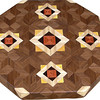 """LS Med ASC Hb 1<br />    This is my """"Medium Aunt Sukeys Choice Hackberry"""" Lazy Susan. The pattern on this lazy susan is the """"Aunt Sukeys Choice"""" quilt pattern. It is the same pattern that is on the """"Oak ASC Square Box"""". As you can see on the square box, 2 diamonds are on each corner. They form a star when 4 of the patterns come together. Out from the center I have 4 half size patterns that are the same size that is on my """"Oak Tiny Square Box"""", twice as many pieces as would normally be in that area, 48 pieces where I would normally have 24 pieces<br /> <br />      The measurements are 15"""" across, 15 ½"""" diagonal, 16 ½"""""""" tip to tip, and 2"""" high. There are 532 pieces in the overlay, 192 diamonds and 340 triangles. 192 of those pieces are half size pieces <br />      <br />       This lazy susan has 5 kinds of wood, all the natural colors. The type of wood is listed on the bottom from the center out. On this lazy susan the wood is """"Tulipwood"""" from Brazil, """"Wenge"""" from West Africa, """"Hackberry from Missouri, """"Satinwood"""" from Brazil and """"Walnut"""" from Missouri<br />       The pattern is based on the """"Aunt Sukeys Choice"""" quilt pattern. The design extends over the edge to within ¼"""" of the table top it sits on. The stationary base is hidden on the inside, behind the edge."""