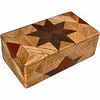 "Oak Glasses Box<br /> I call this my ""Oak"" Glasses Box. On the top of the box is a variation of a ""Rolling Star"" quilt pattern.  The glasses box is about 3 1/2"" x 6 1/2"" and 2 1/4"" high on the outside. Inside it is 2 3/8"" x 5 3/8"" x 1 1/2"".  I made it using 116 pieces of wood cut in either diamond or triangle shapes from different kinds of wood. The box is finished in its natural color with 5 or 6 coats of a clear wiping varnish, rubbed in by hand. The pieces are a bit over 3/16"" thick, glued onto a Baltic Birch base, so they hold up much better than a thin veneer.<br />   The type of wood is listed on the bottom of the box from the center out. On this box the wood is ""Walnut"" and ""Oak"" from Missouri and ""Brazilwood"" from Brazil.<br />  On the bottom I signed it, listed the wood, and dated it.  After the date, the words ""Foot Cut"" let you know I made it on a foot powered table saw.<br />  <br />  I lined the box with black velveteen."