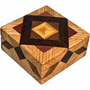 """Oak Aunt Sukeys Choice Square Box<br />  I call this my Square """"Aunt Sukeys Choice Oak"""" box.  It has the """"Aunt Sukeys Choice"""" quilt pattern on the top of the box. The box is about 5"""" x 5"""" and 2 1/2"""" high on the outside. Inside it is 4"""" x 4"""" x 1 1/2"""". I made it using 120 pieces of wood cut in either a diamond or a triangle shape from different kinds of wood. The box is finished in its natural color with 5 or 6 coats of a clear wiping varnish, rubbed in by hand. The pieces are a bit over 3/16"""" thick, glued onto a Baltic Birch base, so they hold up much better than a thin veneer.<br />    The type of wood is listed on the bottom of the box from the center out. On this box the wood is """"Satinwood"""" from Sri Lanka, """"Walnut"""" from Missouri, """"Wenge"""" from West Africa, """"Purpleheart"""" from Central or South America, and """"Oak"""" from Missouri.  <br />     On the bottom I signed it, listed the wood, and dated it.  After the date the words """"Foot Cut"""" let you know I made it on a """"foot powered table saw"""" my brother helped me make around 1992. <br />    I lined the box with black velveteen."""