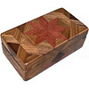 """Purpleheart Glasses Box<br /> I call this my """"Purpleheart"""" Glasses Box. On the top of the box is a variation of a """"Rolling Star"""" quilt pattern.  The glasses box is about 3 1/2"""" x 6 1/2"""" and 2 1/4"""" high on the outside. Inside it is 2 3/8"""" x 5 3/8"""" x 1 1/2"""".  I made it using 116 pieces of wood cut in either diamond or triangle shapes from different kinds of wood. The box is finished in its natural color with 5 or 6 coats of a clear wiping varnish, rubbed in by hand. The pieces are a bit over 3/16"""" thick, glued onto a Baltic Birch base, so they hold up much better than a thin veneer.<br /> The type of wood is listed on the bottom of the box from the center out. On this box the wood is """"Purpleheart"""" from Central or South America, """"Walnut"""" from Missouri and """"Wenge"""" from West Africa.<br />   On the bottom I signed it, listed the wood, and dated it.  After the date, the words """"Foot Cut"""" let you know I made it on a foot powered table saw.<br />  <br /> I lined the box with black velveteen."""