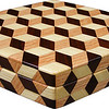 "Medium Hexagon Tumbling Block Box, view 2<br /> The medium hexagon box Tumbling Block is based on the ""Tumbling Block"" quilt pattern. It measures 7 ¼"" X 8 3/8"" and 2 3/8"" high. Inside measurements are 6 ¼"" X 7"" X 1 ½"".  There are 198 pieces on the overlay. The pieces are cut and glued in place, one piece at a time. The pattern covers the top and extends over the edge uninterrupted, to the bottom. The box is finished in its natural color with 5 or 6 coats of a clear wiping varnish, rubbed in by hand. The pieces are a bit over 3/16"" thick, glued onto a Baltic Birch base.<br /> <br /> This box is made from Hackberry, Oak, and Walnut, all native to Missouri. I lined the box with black velveteen.<br /> <br /> The pattern has the illusion of a lot of blocks but there are as many stars as there are blocks. The design forces you to see the blocks. On each diamond, if you go to the side you are in the middle of a block. At each point you are in the middle of a star that has 6 points."