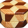 "Tiny Hexagon Tumbling Block Box, view 1<br /> The Tiny Hexagon Tumbling Block Box is based on the ""Tumbling Block"" quilt pattern. It measures 2 7/8"" X 3 1/4"" and 1 5/8"" high. Inside measurements are 2"" X 2 1/8"" X 3/4"".  There are 42 pieces on the overlay. The pieces are cut and glued in place, one piece at a time. The pattern covers the top and extends over the edge uninterrupted, to the bottom. The box is finished in its natural color with 5 or 6 coats of a clear wiping varnish, rubbed in by hand. The pieces are a bit over 3/16"" thick, glued onto a Baltic Birch base.<br /> <br /> This box is made from Hackberry, Oak, and Walnut, all native to Missouri. I lined the box with black velveteen.<br /> <br /> The pattern has the illusion of a lot of blocks but there are as many stars as there are blocks. The design forces you to see the blocks. On each diamond, if you go to the side you are in the middle of a block. At each point you are in the middle of a star that has 6 points."