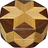 "Hackberry & Walnut Ring Box<br />   This is my ""Hackberry and Walnut"" Ring Box.  It measures 3 1/2"" x 3 1/2"" and is 2"" high.  There are 56 pieces on this box.  The pieces are all the ""full size"" diamonds and triangles, except for the 16 half size triangles around the bottom.  It is finished in its natural color with 5 or 6 coats of clear wiping varnish rubbed in by hand.  The pieces are a bit over 3/16"" thick, glued onto a Baltic Birch base.  So they hold up much better than a thin veneer.  <br /> <br />   The type of wood is listed on the bottom of the box, from the center out.  On this box is ""Hackberry"" and ""Walnut"" from Missouri.  <br /> <br />   On the bottom I signed it, listed the wood, and dated it.  After the date the words ""Foot Cut"" let you know I made it on a foot powered table saw.  My bother helped me make the saw around 1992.  <br /> <br />   The inside is lined with black velveteen.   It has 3 ""ring pads"" on the bottom forming 2 slots about 2 ½"" long, for rings."