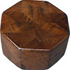 "Walnut Burl Ring Box<br /> This is my ""Walnut Burl"" Ring Box.  It measures 3 1/2"" x 3 1/2"" and is 2"" high.  There are 56 pieces on this box.  The pieces are all the ""full size"" diamonds and triangles, except for the 16 half size triangles around the bottom.  It is finished in its natural color with 5 or 6 coats of clear wiping varnish rubbed in by hand.  The pieces are a bit over 3/16"" thick, glued onto a Baltic Birch base.  So they hold up much better than a thin veneer.  <br /> <br />   The type of wood is listed on the bottom of the box, from the center out.  On this box is ""Walnut Burl"" from Missouri. The grain, which has a marbled look, makes the design on this box.  <br /> <br />   On the bottom I signed it, listed the wood, and dated it.  After the date the words ""Foot Cut"" let you know I made it on a foot powered table saw.  My brother helped me make the saw around 1992.  <br /> <br />   The inside is lined with black velveteen.   It has 3 ""ring pads"" on the bottom forming 2 slots about 2 ½"" long, for rings."