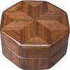 "Walnut Ring Box<br /> This is my ""Walnut"" Ring Box.  It measures 3 1/2"" x 3 1/2"" and is 2"" high. There are 56 pieces on this box.  The pieces are all the ""full size"" diamonds and triangles, except for the 16 half size triangles around the bottom.  It is finished in its natural color with 5 or 6 coats of clear wiping varnish rubbed in by hand.  The pieces are a bit over 3/16"" thick, glued onto a Baltic Birch base.  So they hold up much better than a thin veneer.  <br /> <br />   The type of wood is listed on the bottom of the box, from the center out.  On this box is ""Walnut"" from Missouri. The grain going in different ways makes the design on this box,  <br /> <br />    On the bottom I signed it, listed the wood, and dated it.  After the date the words ""Foot Cut"" let you know I made it on a foot powered table saw.  My brother helped me make the saw around 1992.  <br /> <br />   The inside is lined with black velveteen.   It has 3 ""ring pads"" on the bottom forming 2 slots about 2 ½"" long, for rings."